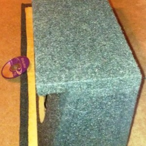 Custom built MDF down-firing sub box sideview