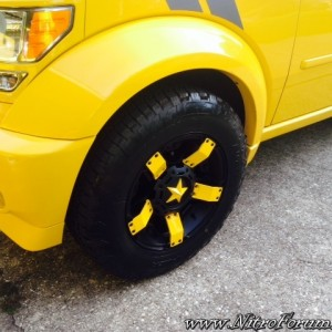 Front Drivers side Shot of XD Rockstar II Rims with Yellow Color Matched Pa
